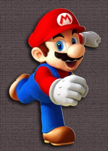 GAMES - MARIO - GREY TEXTURE EFFECT canvas print - self adhesive poster - photo print
